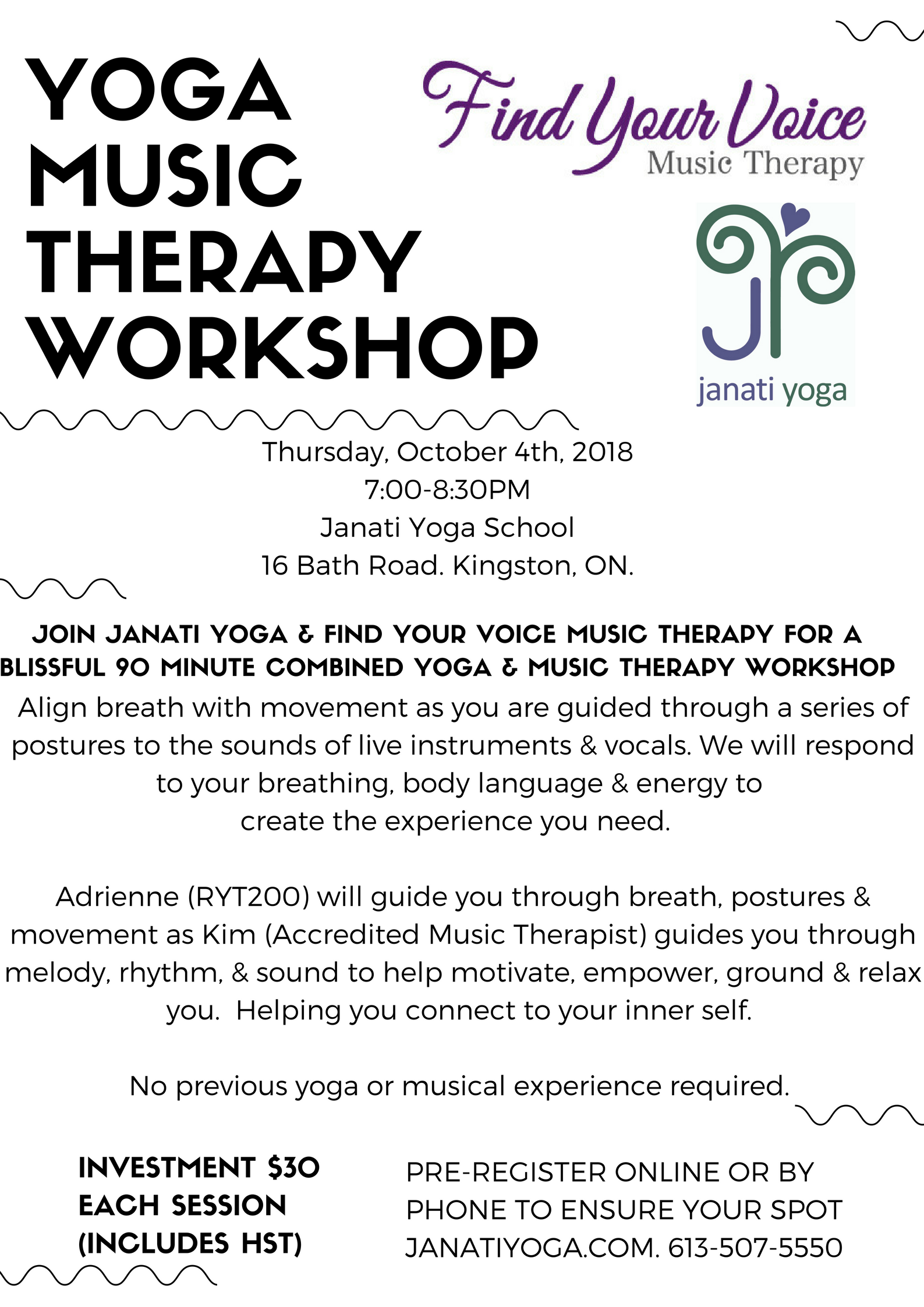 Yoga. Music Therapy. Janati. Find Your Voice Music Therapy. Kingston. Ontario