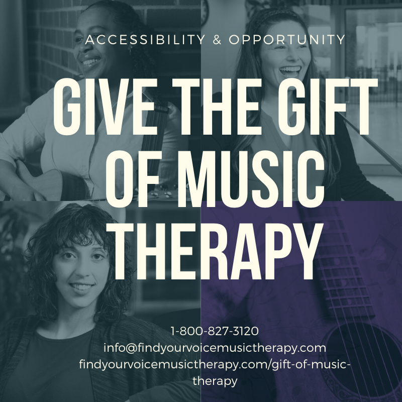 Find Your Voice Music Therapy. Gift of Music Therapy. Holidays & Christmas.